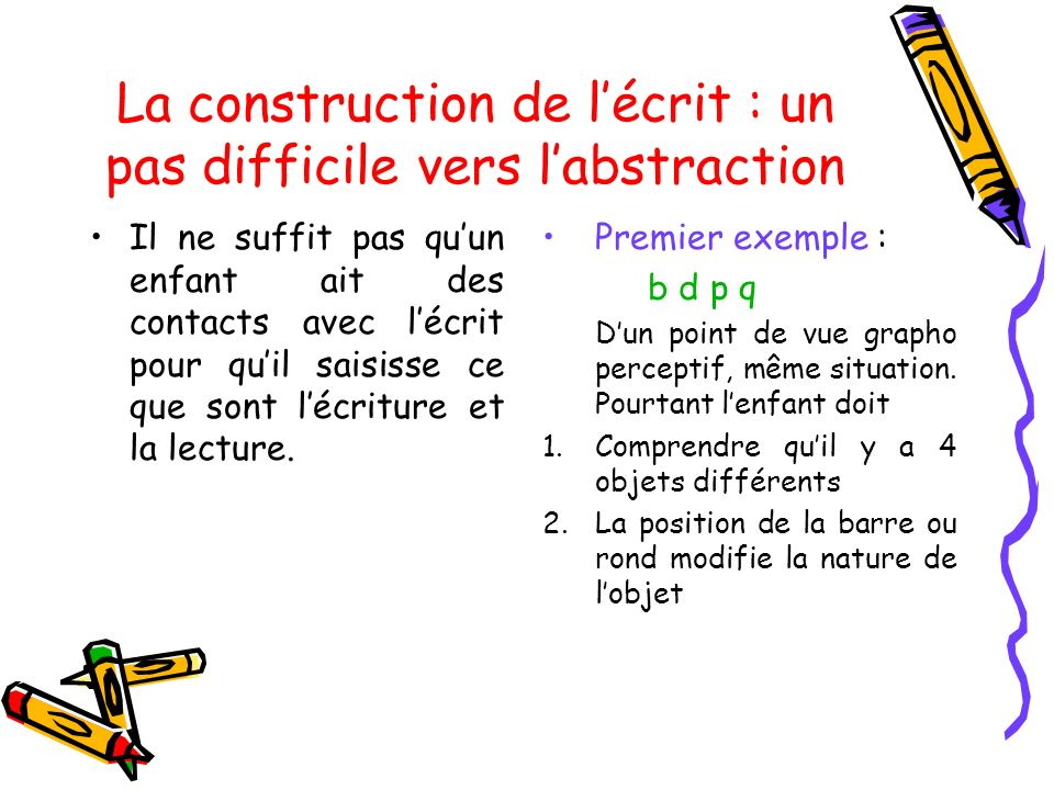 La construction de l'écrit : un pas difficile vers l'abstraction