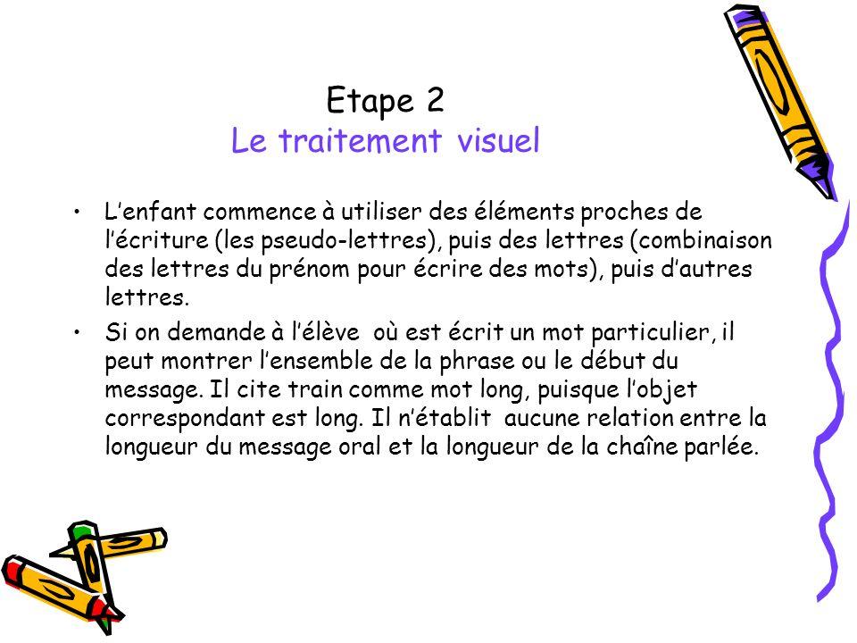 Etape 2 Le traitement visuel