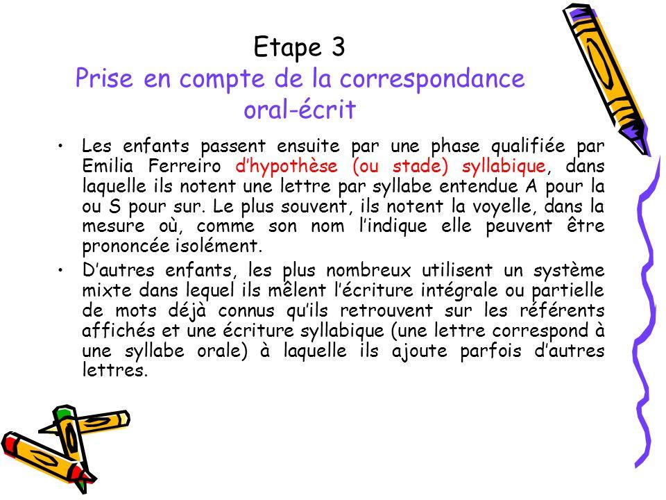 Etape 3 Prise en compte de la correspondance oral-écrit