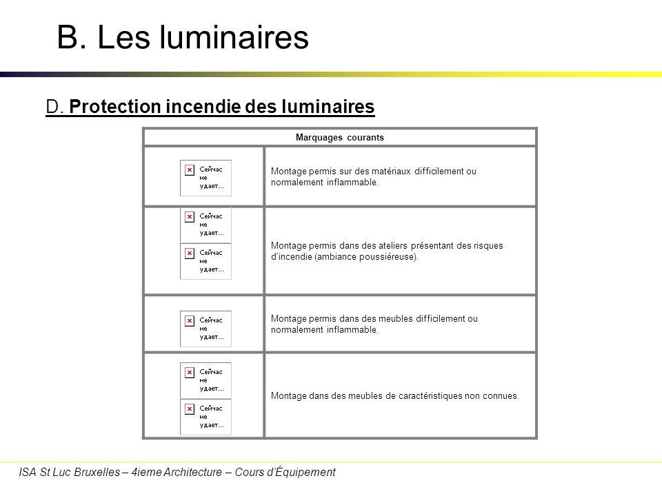 B. Les luminaires D. Protection incendie des luminaires 30/03/2017
