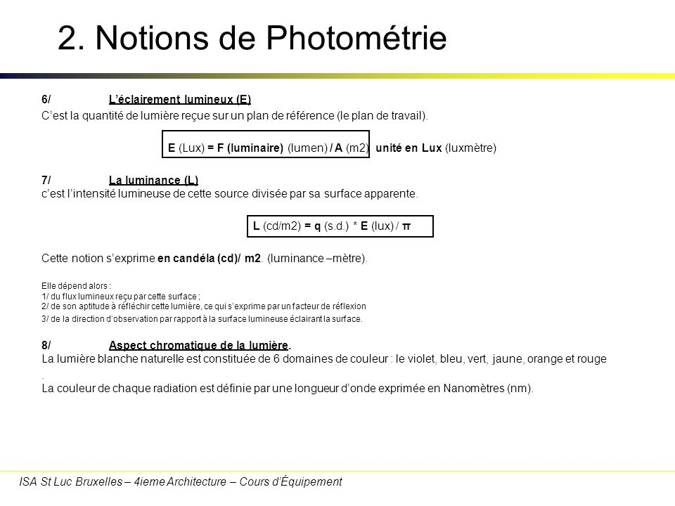 2. Notions de Photométrie