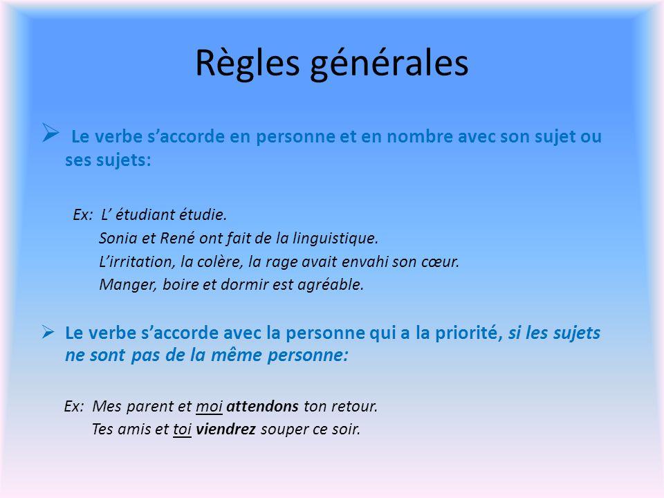 Règles générales Le verbe s'accorde en personne et en nombre avec son sujet ou ses sujets: Ex: L' étudiant étudie.