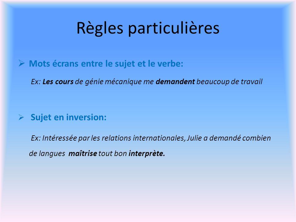 Règles particulières Mots écrans entre le sujet et le verbe: