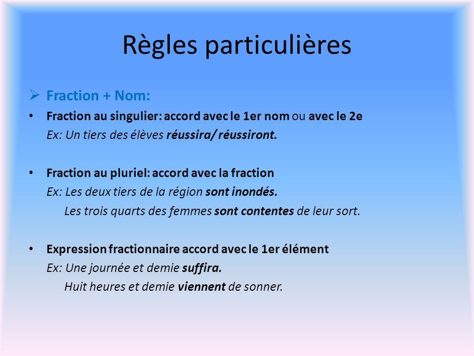 Règles particulières Fraction + Nom: