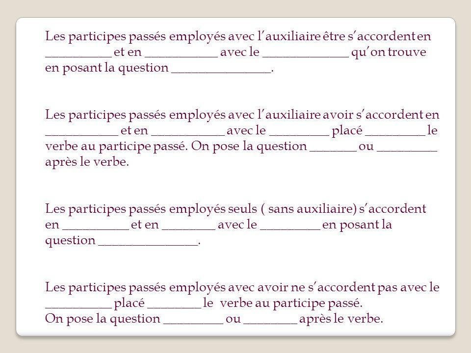 Les participes passés employés avec l'auxiliaire être s'accordent en __________ et en ___________ avec le _____________ qu'on trouve en posant la question _______________.