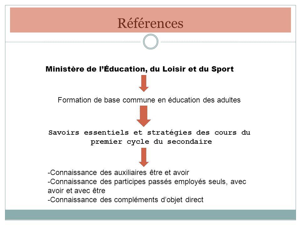 Références Ministère de l'Éducation, du Loisir et du Sport
