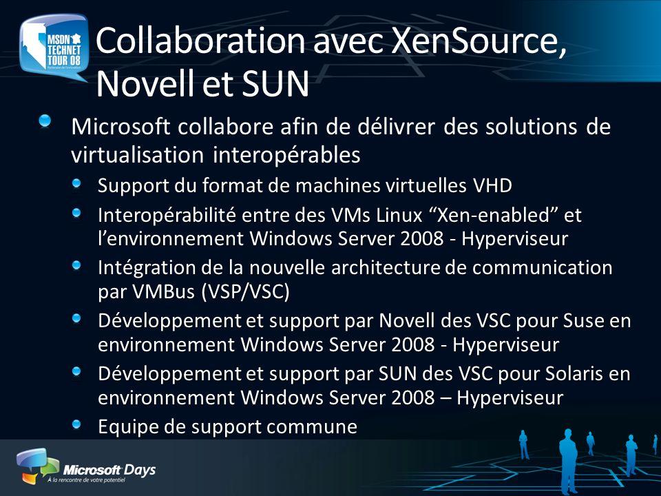 Collaboration avec XenSource, Novell et SUN