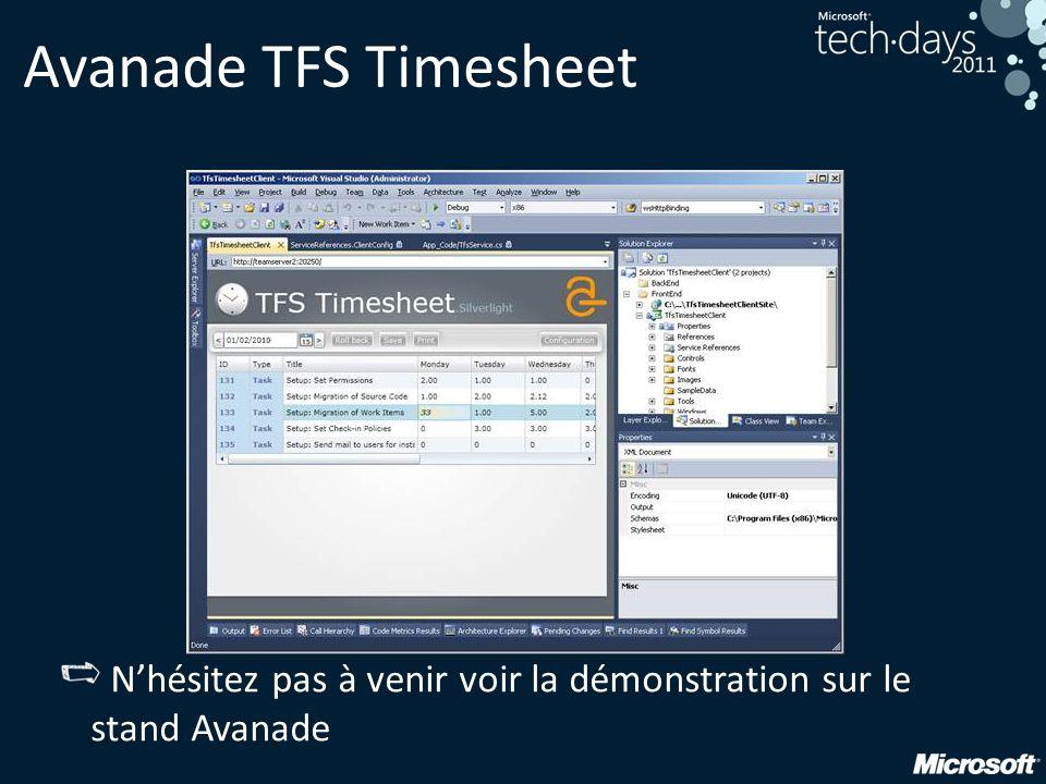 Avanade TFS Timesheet N'hésitez pas à venir voir la démonstration sur le stand Avanade