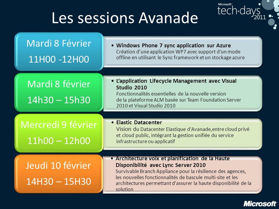 Les sessions Avanade Mardi 8 Février 11H00 -12H00 Mardi 8 février