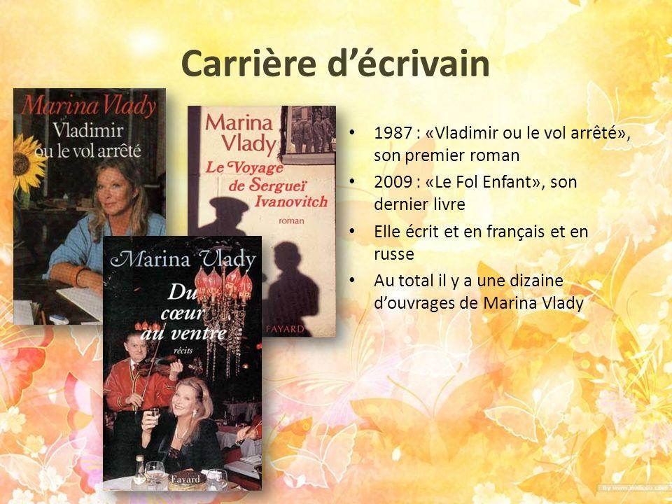 Carrière d'écrivain 1987 : «Vladimir ou le vol arrêté», son premier roman. 2009 : «Le Fol Enfant», son dernier livre.