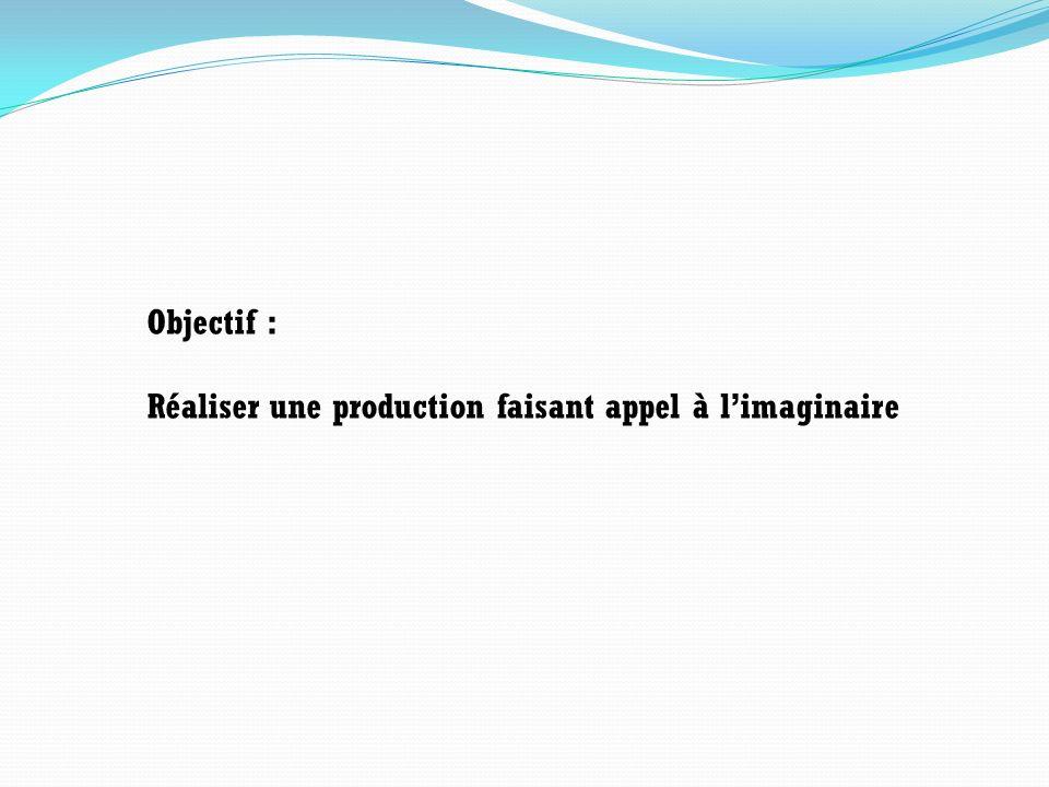 Objectif : Réaliser une production faisant appel à l'imaginaire