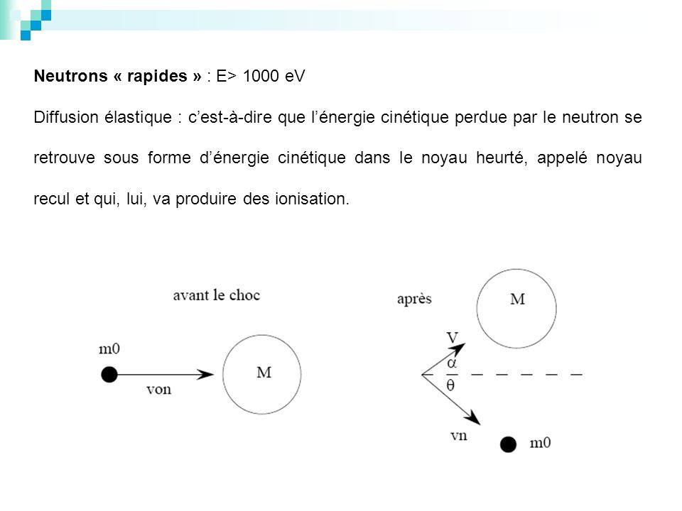 Neutrons « rapides » : E> 1000 eV