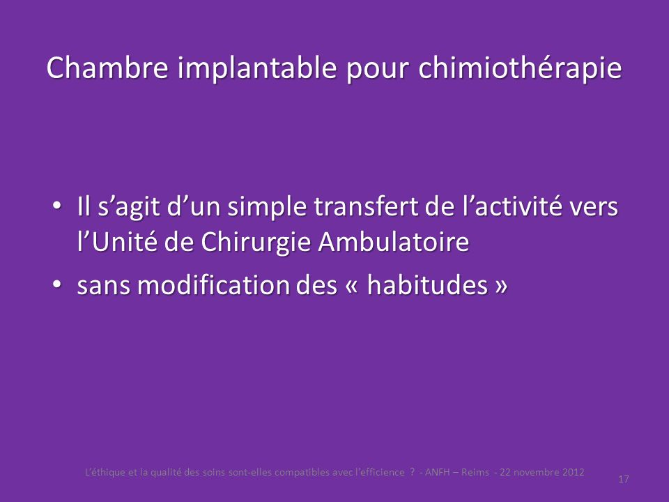 Chambre implantable pour chimiothérapie