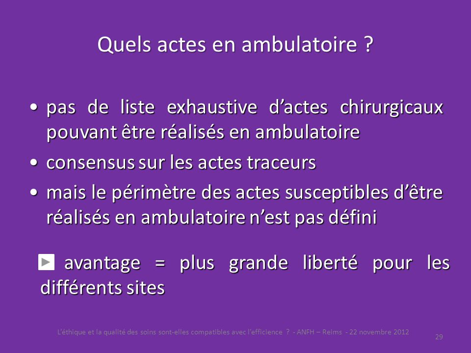 Quels actes en ambulatoire