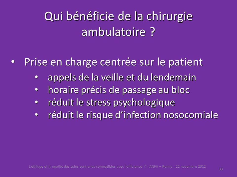 Qui bénéficie de la chirurgie ambulatoire