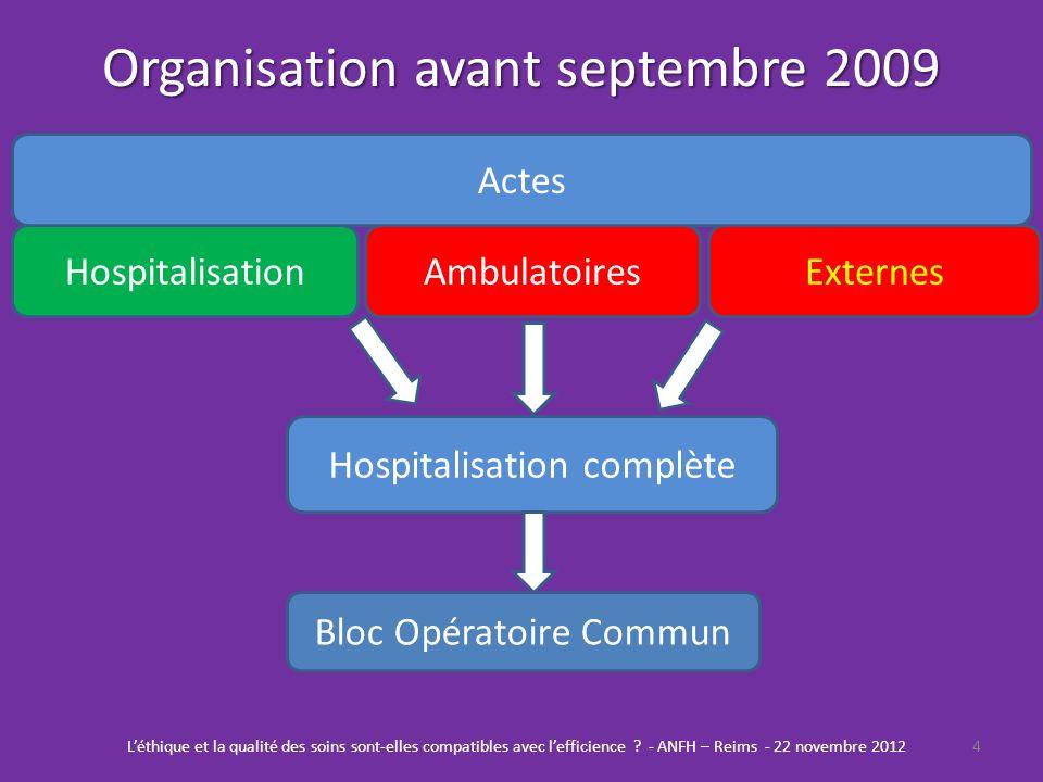 Organisation avant septembre 2009
