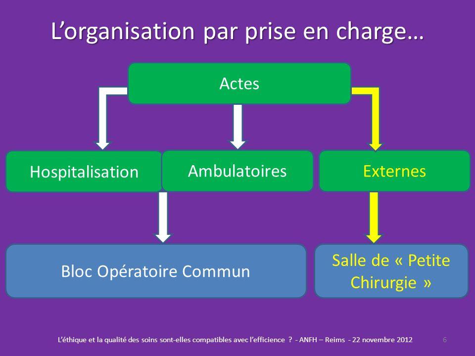 L'organisation par prise en charge…