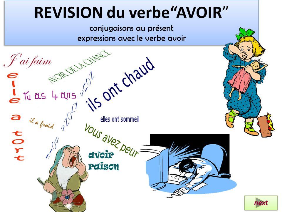 REVISION du verbe AVOIR conjugaisons au présent expressions avec le verbe avoir