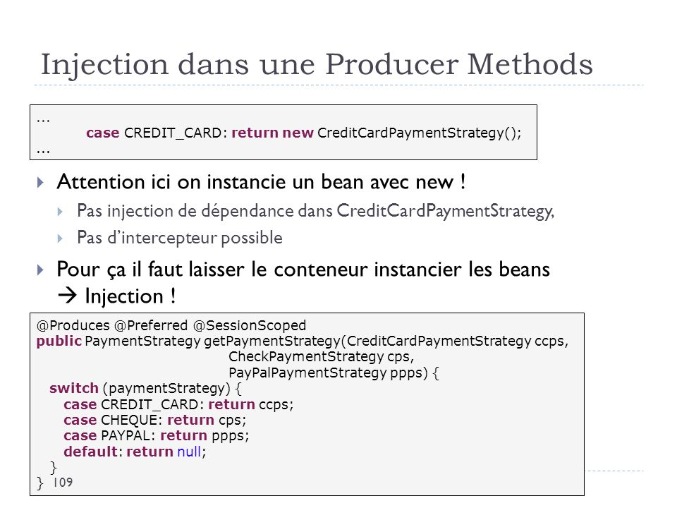Injection dans une Producer Methods