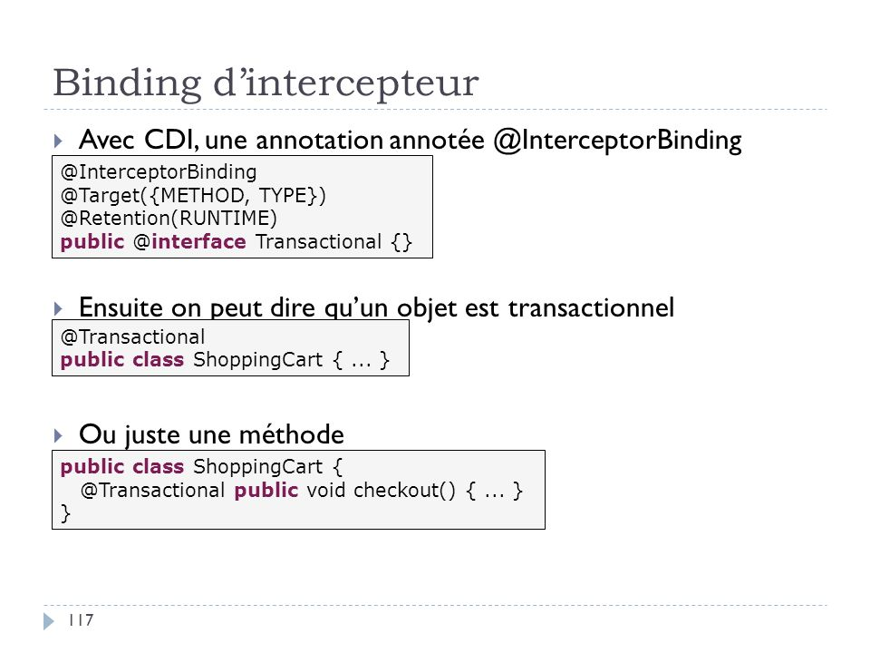 Binding d'intercepteur