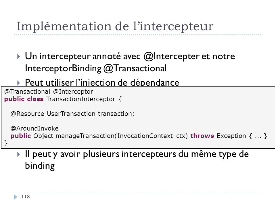 Implémentation de l'intercepteur