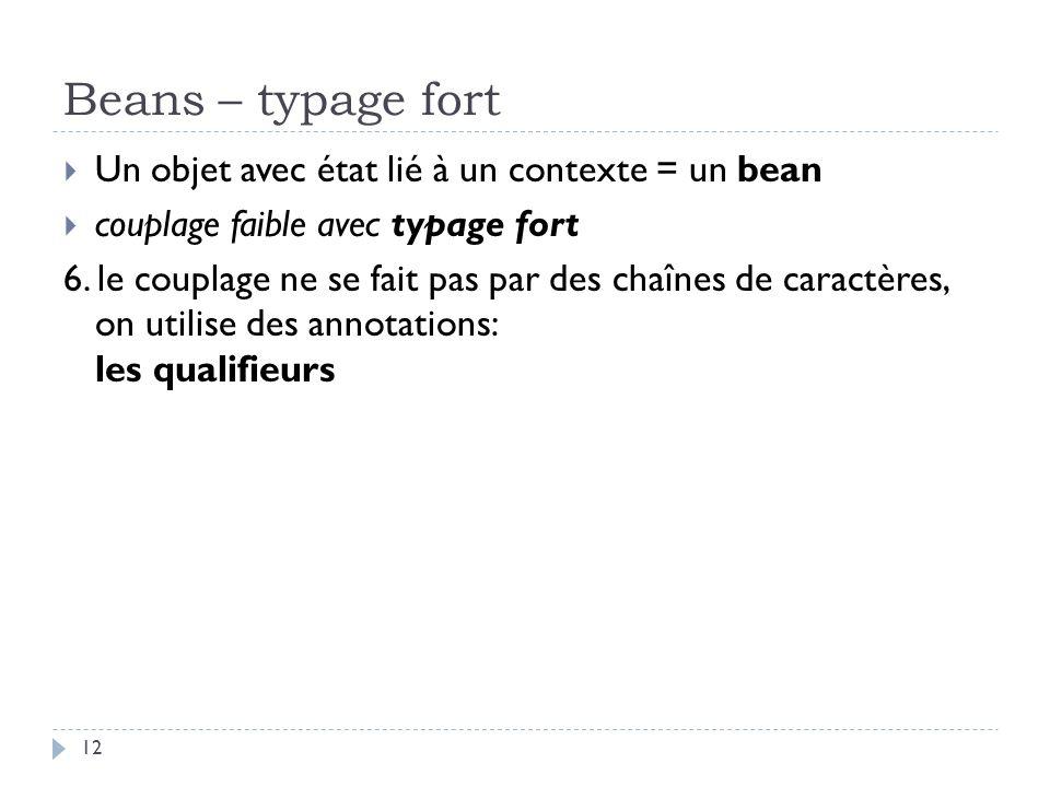 Beans – typage fort Un objet avec état lié à un contexte = un bean