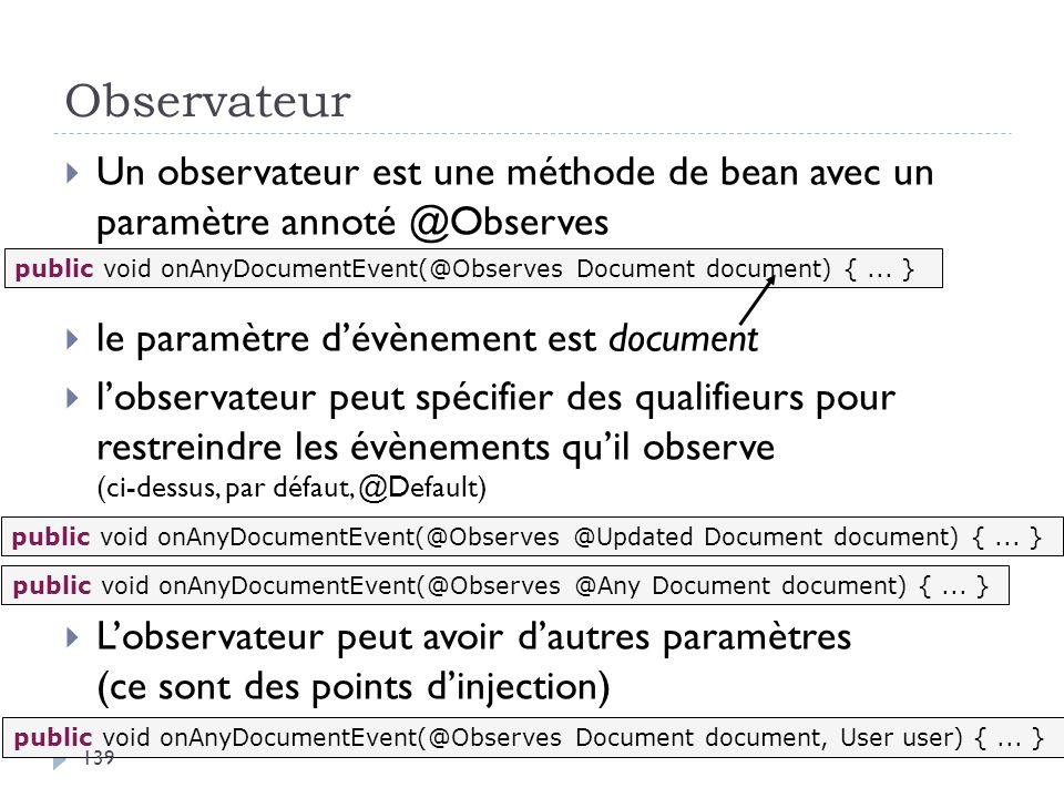 Observateur Un observateur est une méthode de bean avec un paramètre annoté @Observes. le paramètre d'évènement est document.