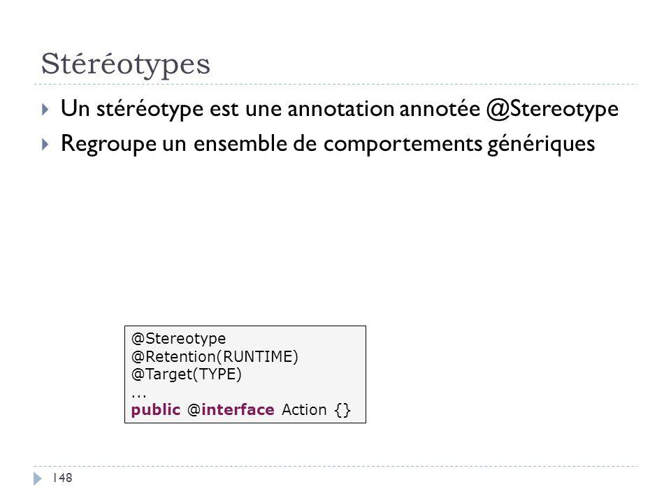 Stéréotypes Un stéréotype est une annotation annotée @Stereotype