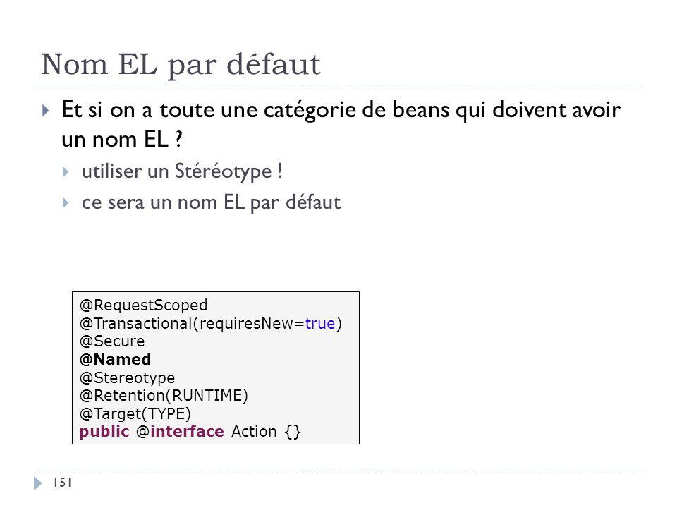 Nom EL par défaut Et si on a toute une catégorie de beans qui doivent avoir un nom EL utiliser un Stéréotype !