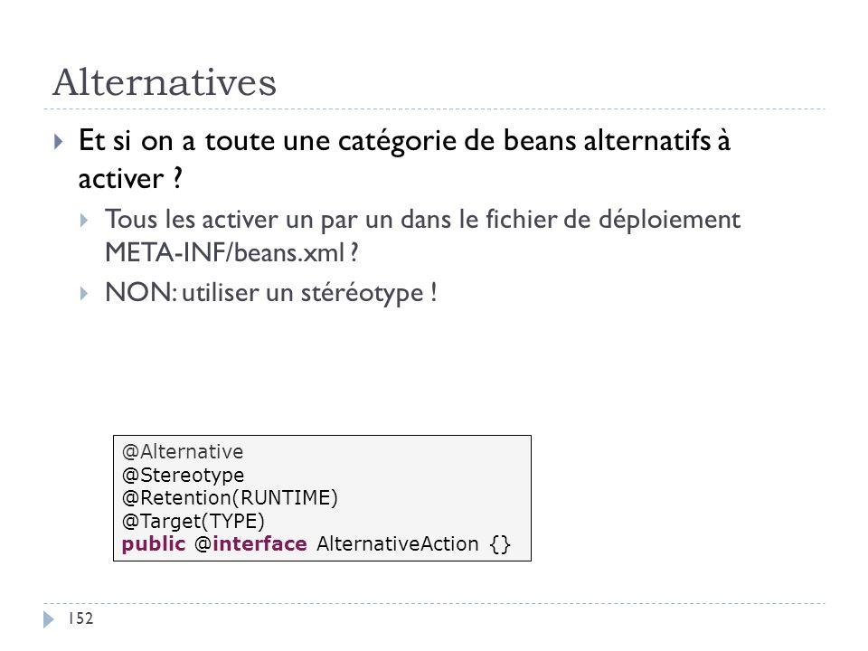 Alternatives Et si on a toute une catégorie de beans alternatifs à activer