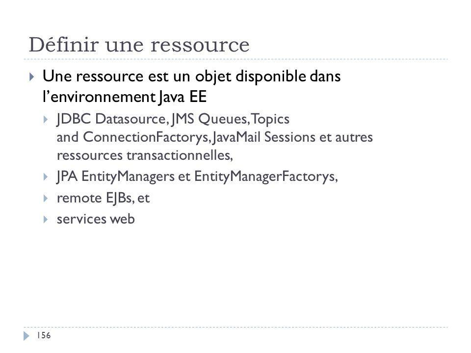 Définir une ressource Une ressource est un objet disponible dans l'environnement Java EE.