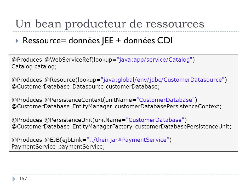 Un bean producteur de ressources