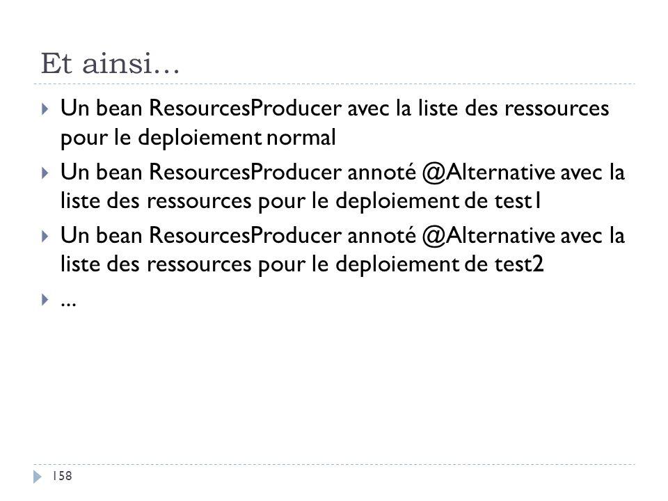 Et ainsi... Un bean ResourcesProducer avec la liste des ressources pour le deploiement normal.