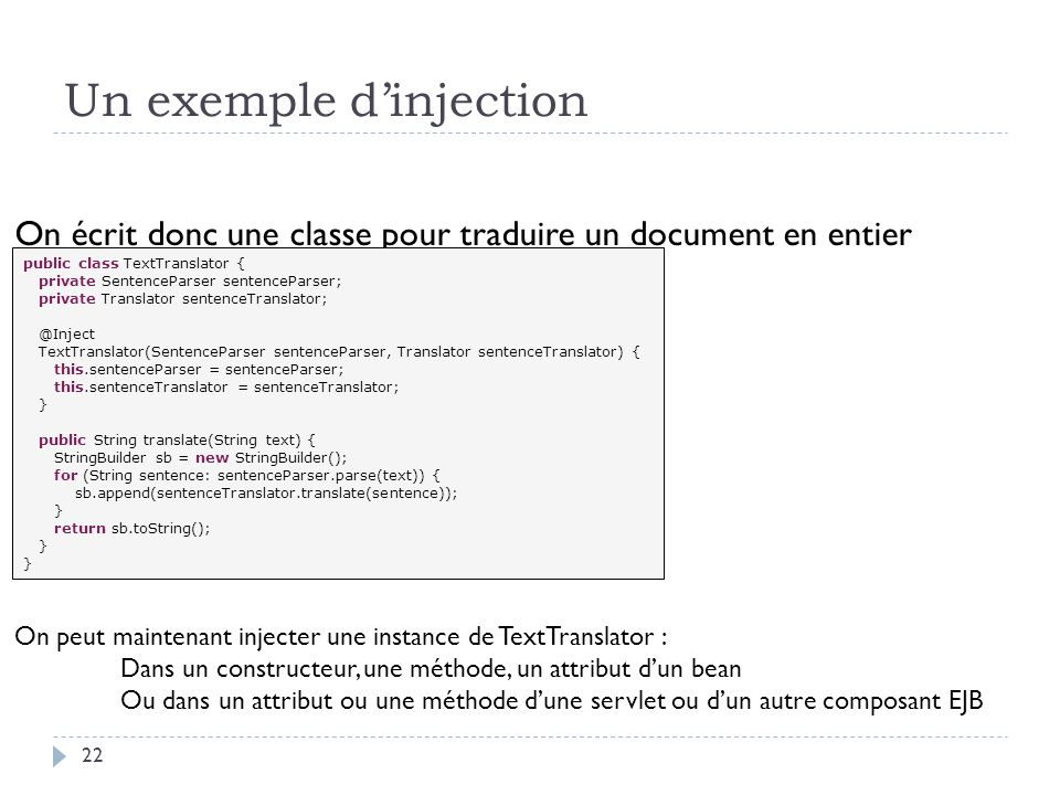 Un exemple d'injection