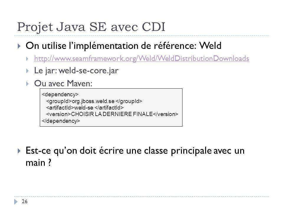 Projet Java SE avec CDI On utilise l'implémentation de référence: Weld