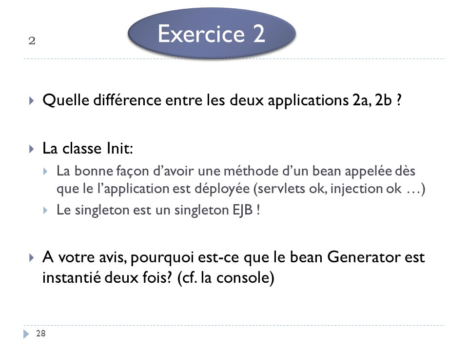 Exercice 2 ² Quelle différence entre les deux applications 2a, 2b
