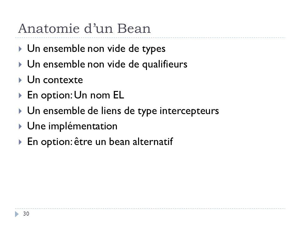 Anatomie d'un Bean Un ensemble non vide de types
