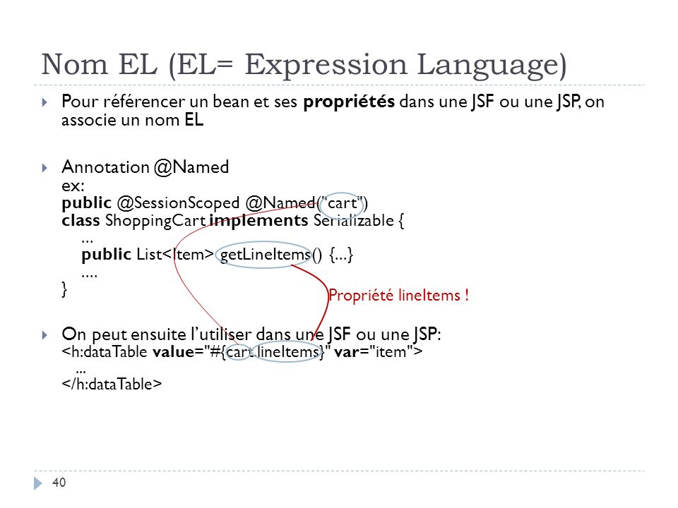 Nom EL (EL= Expression Language)