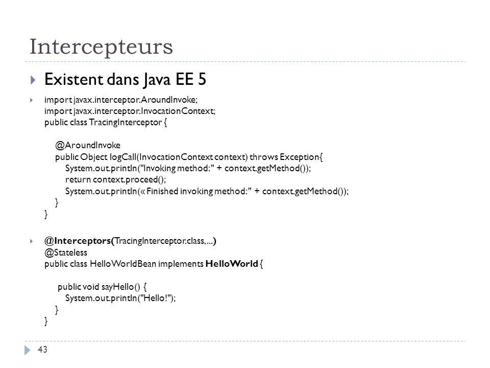 Intercepteurs Existent dans Java EE 5