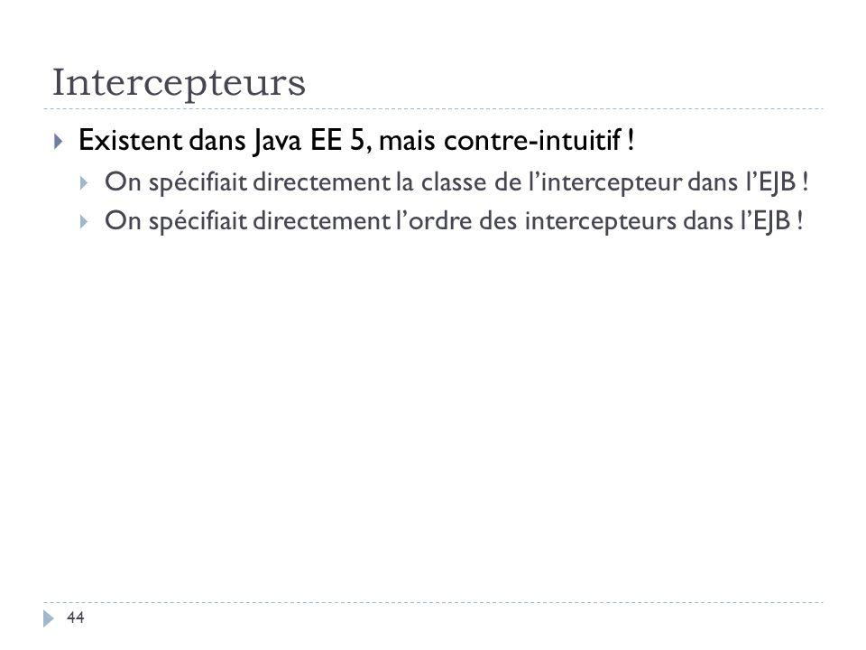 Intercepteurs Existent dans Java EE 5, mais contre-intuitif !