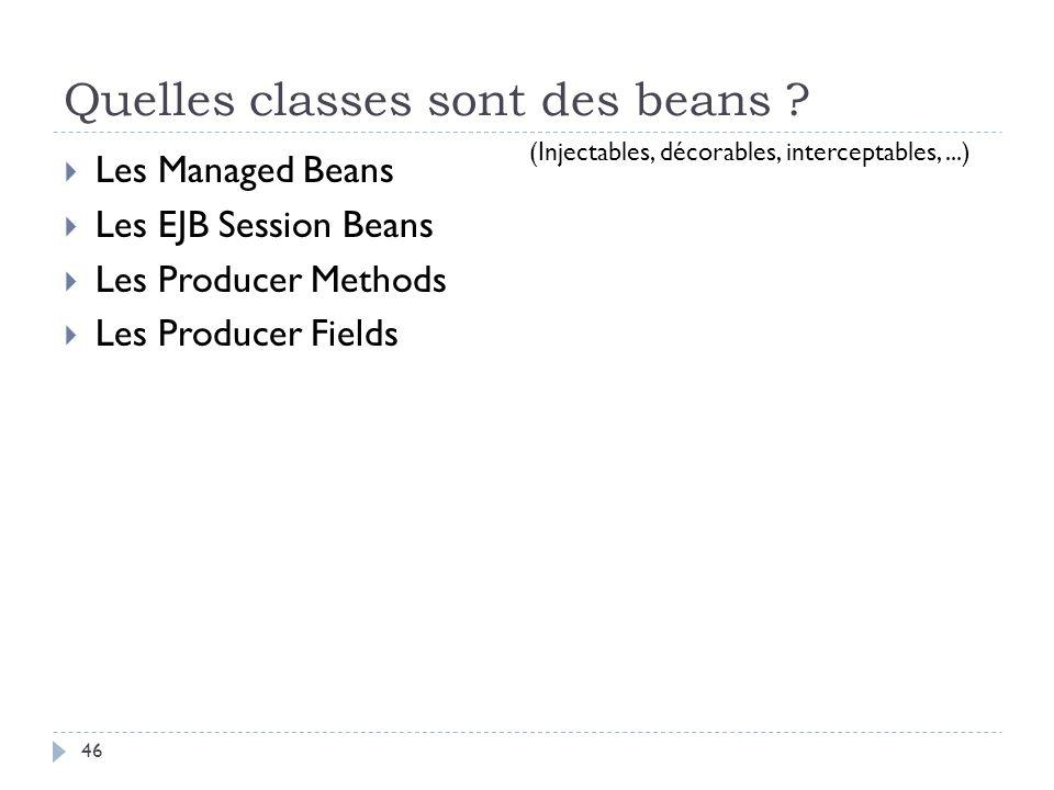 Quelles classes sont des beans