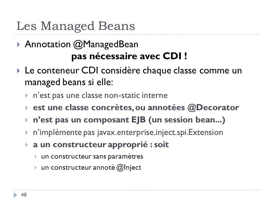 Les Managed Beans Annotation @ManagedBean pas nécessaire avec CDI !
