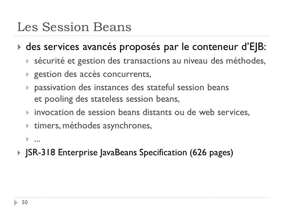 Les Session Beans des services avancés proposés par le conteneur d'EJB: sécurité et gestion des transactions au niveau des méthodes,