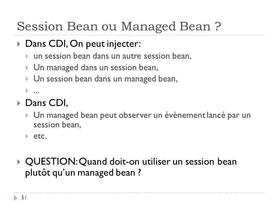 Session Bean ou Managed Bean