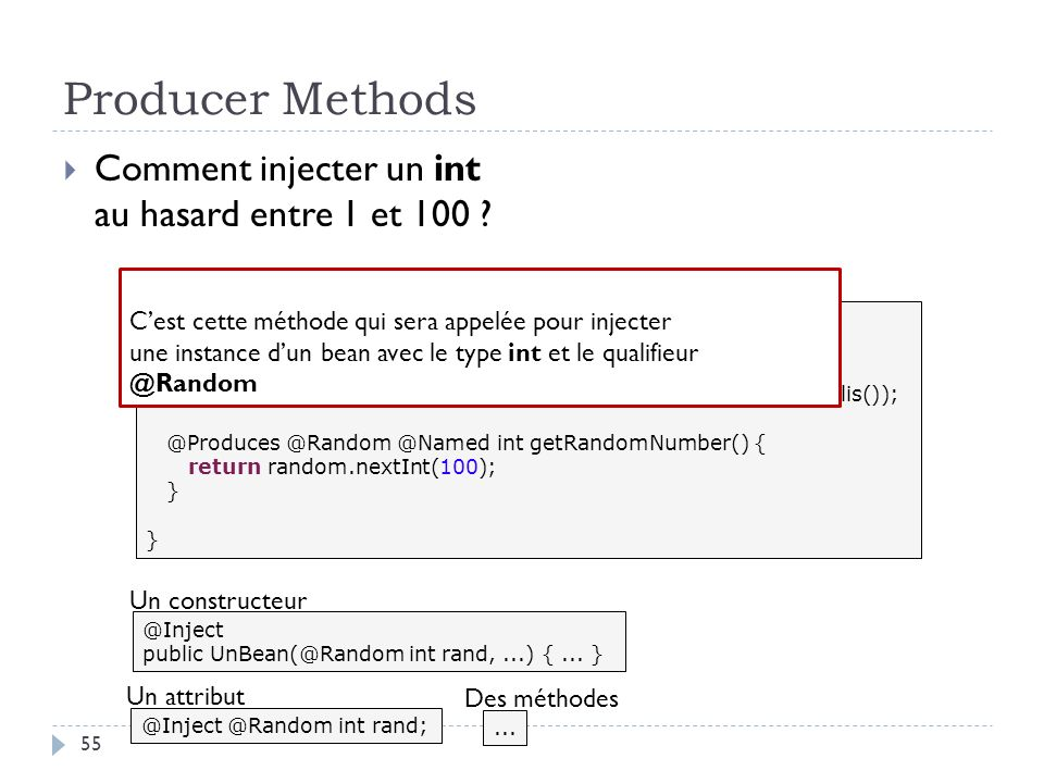 Producer Methods Comment injecter un int au hasard entre 1 et 100