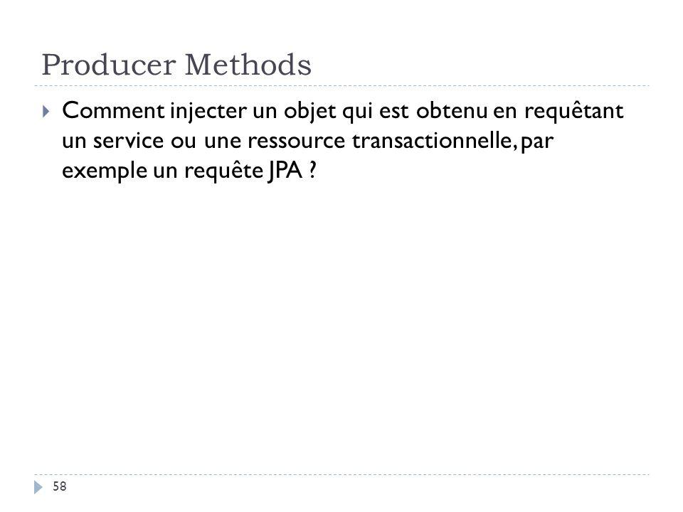Producer Methods Comment injecter un objet qui est obtenu en requêtant un service ou une ressource transactionnelle, par exemple un requête JPA