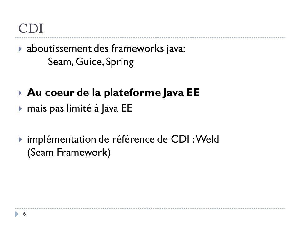 CDI aboutissement des frameworks java: Seam, Guice, Spring
