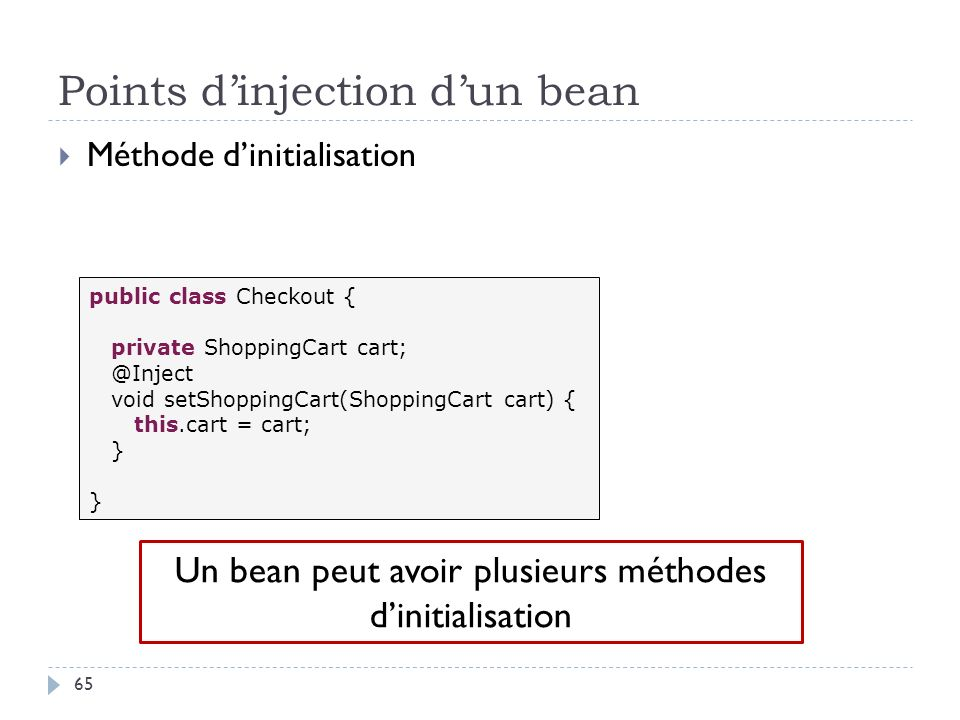 Points d'injection d'un bean