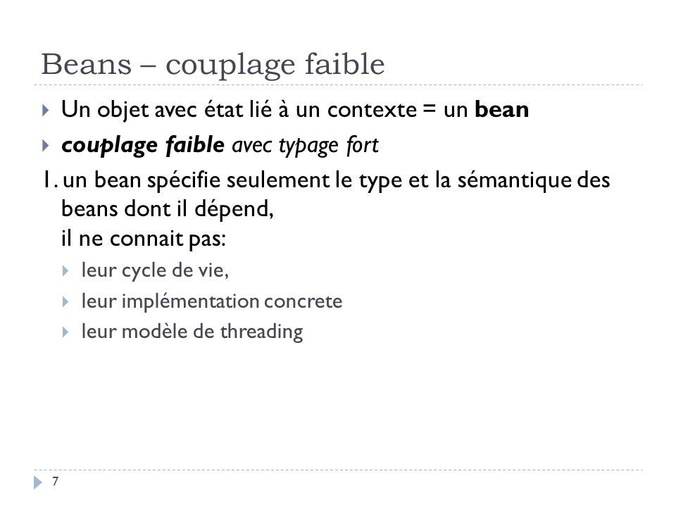 Beans – couplage faible