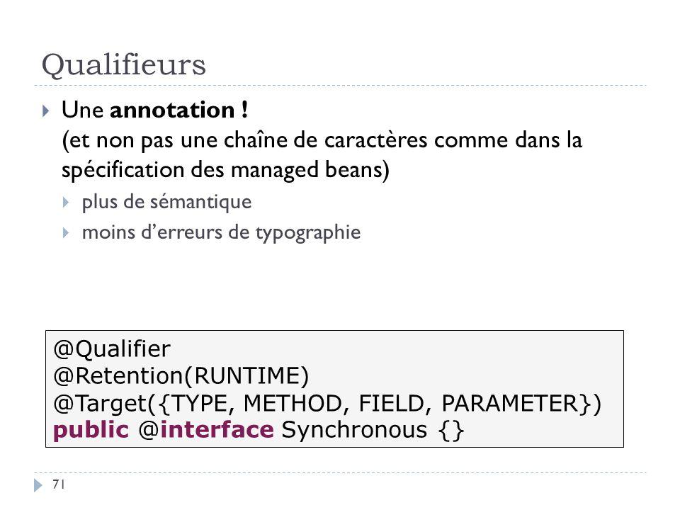 Qualifieurs Une annotation ! (et non pas une chaîne de caractères comme dans la spécification des managed beans)